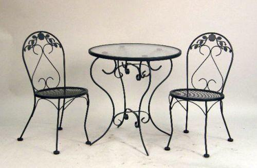 ice cream table and chairs breakfast nook a modern wrought iron parlor glass topped image 1