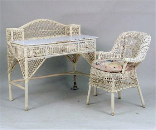 AN ASSEMBLED GROUP OF IVORY PAINTED WICKER GIRL`S BEDROOM ...