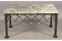 MARBLE TOP COFFEE TABLE GOTHIC WROUGHT IRON BASE