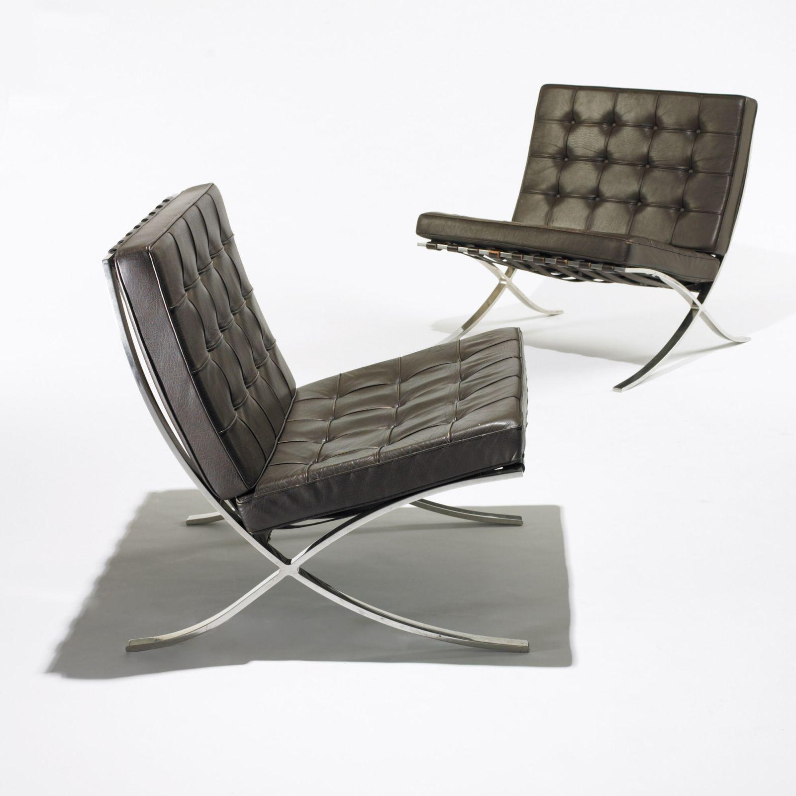 barcelona chairs for sale swing chair bangkok ludwig mies van der rohe pair