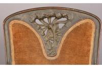 FRENCH ART NOUVEAU CARVED WOOD ARM CHAIR
