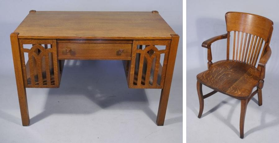 arts and crafts style chair cozzia massage an oak desk image 1