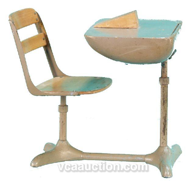 Antique School Desk And Chair Attached  Hostgarcia