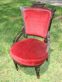 Victorian Crushed Red Velvet Chair