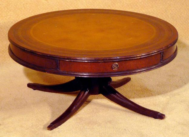 """36"""" leather top round coffee table circa 1940s"""