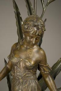 Art Nouveau Spelter And Marble Figural Lamp