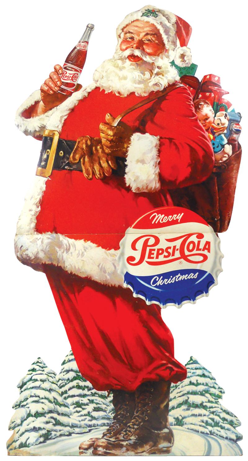 Pepsi Cola Christmas Santa Standup Display Colorful Litho