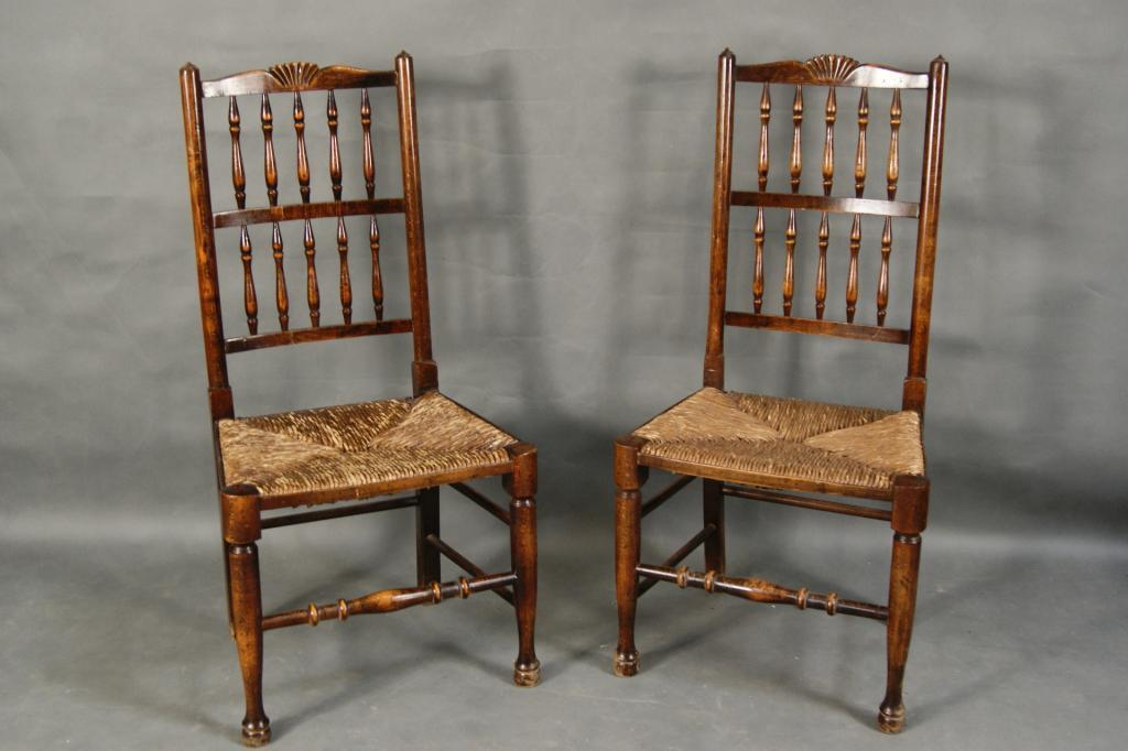 rush seat chairs child rocking chair walmart pair of antique with cusions image 2