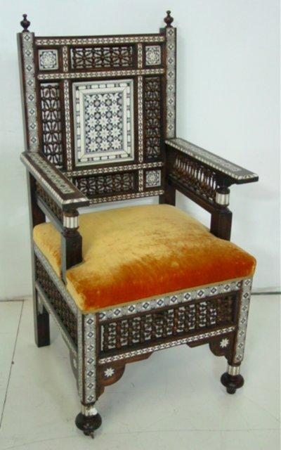 Moroccan chair with bone inlay ca 1930s