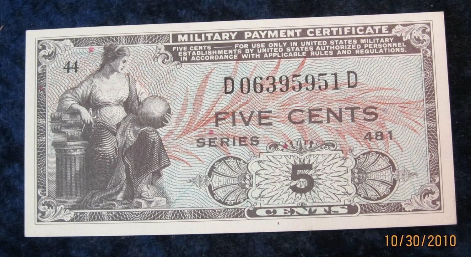 52. Series 481 Military Payment Certificate Five Cents. Cu