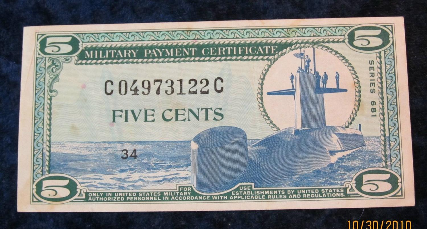 53. Series 681 Military Payment Certificate Five Cents. Au