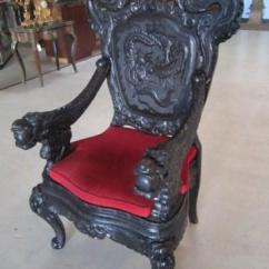 Antique Chinese Dragon Chair Patio Repair Kits A44 19 Carved Dragons Throne Image 2