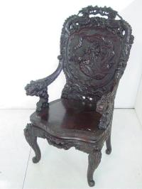 19th c. heavily carved Japanese throne chair