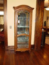 ETHAN ALLEN FRENCH COUNTRY LIGHTED CURIO CABINET GLASS SHELVES