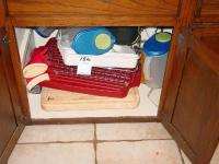 DISH STRAINER, TEA PITCHERS & CUTTING BOARDS UNDER CABINET