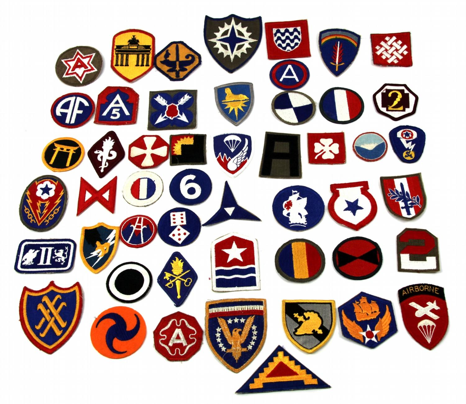 COLLECTION OF 50 WWII PATCHES WITH AIRBORNE
