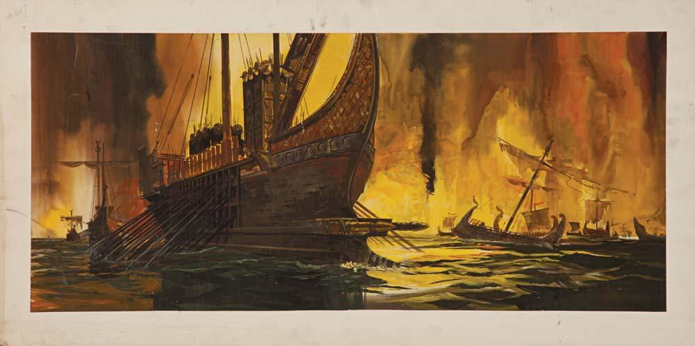 Cleopatra Large Scale Original Concept Paintings 3 On 4 Boards Of A Fiery Sea Battle And Ships