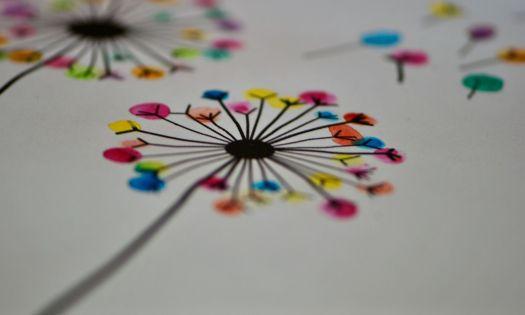 fingermålning maskros vattenfärg