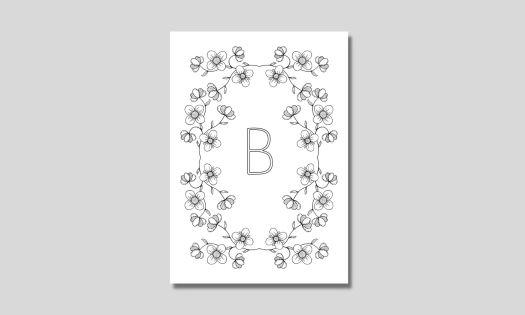 alfabet med ram av blommor bokstaven b