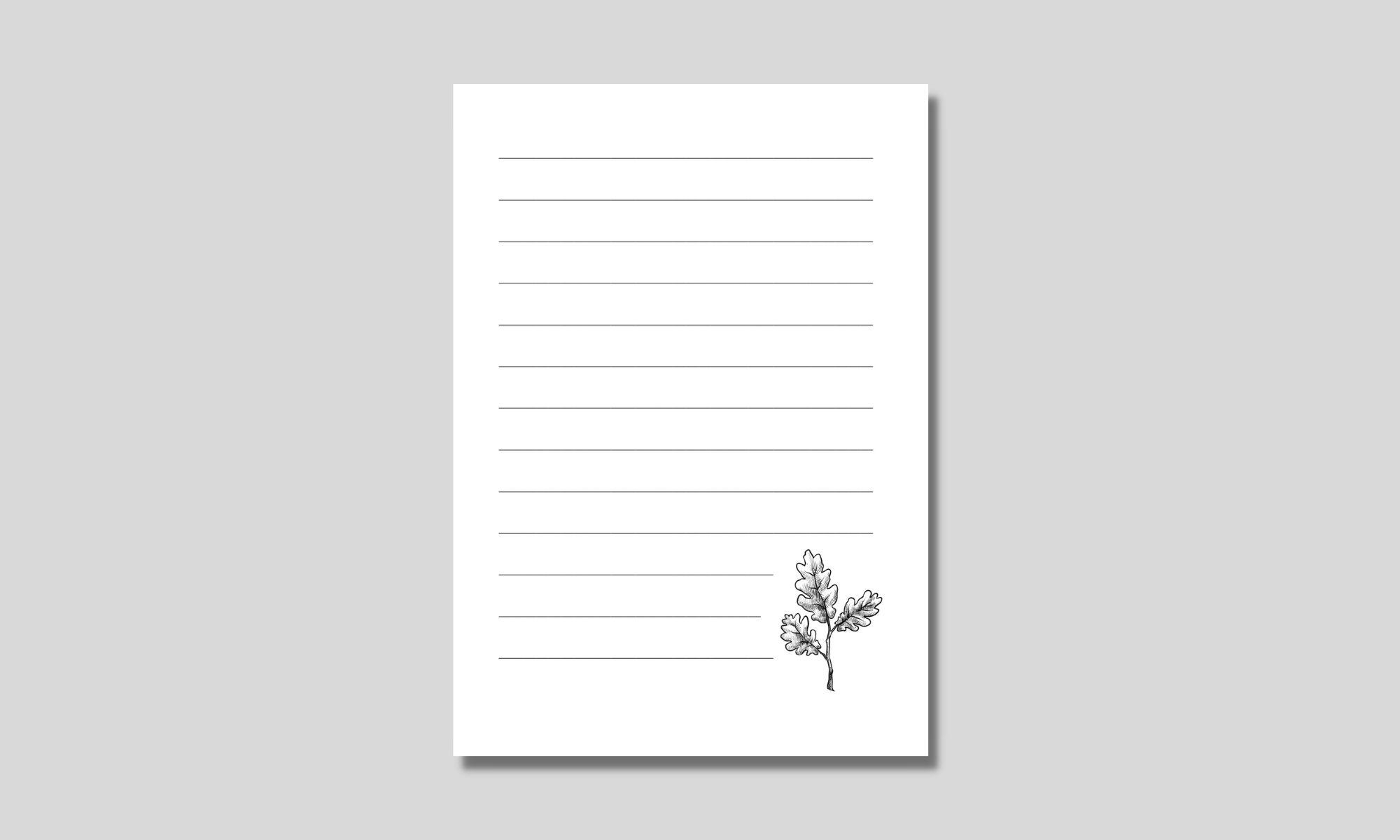 enkelt linjerat papper med eklöv