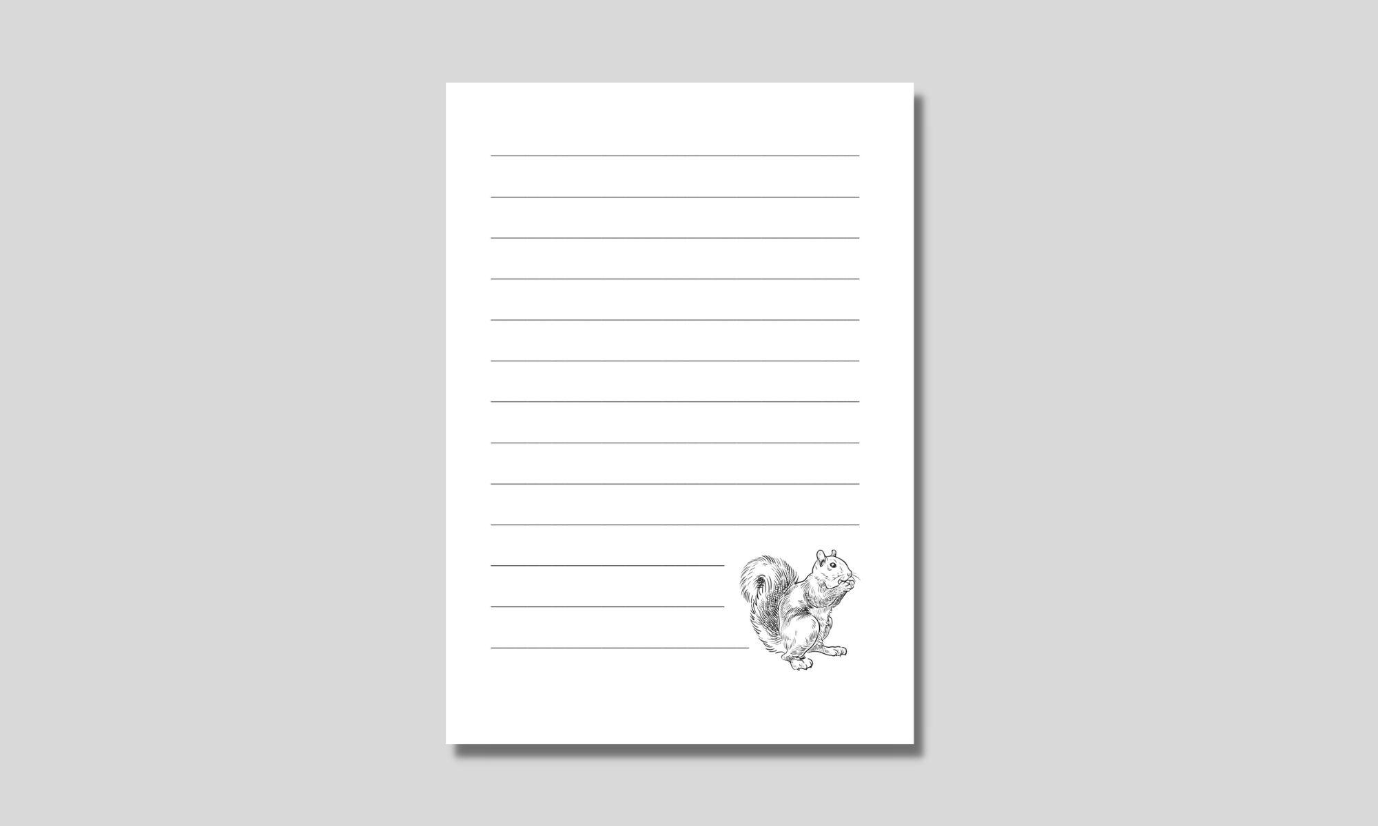 enkelt linjerat papper med ekorre