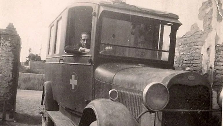Arabarco in an ambulance in the 1940s.