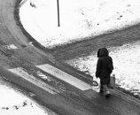 svartvitt snö å slask