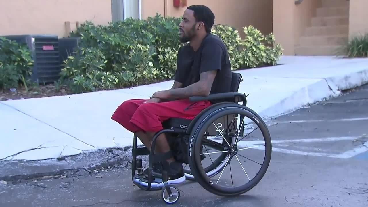 wheelchair man beach umbrella chair miami heat donates to margate after video thumbnail for was stolen