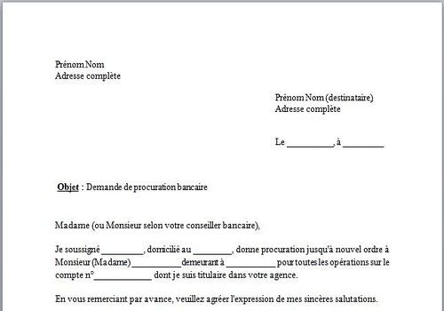 modele lettre de procuration demarche administrative