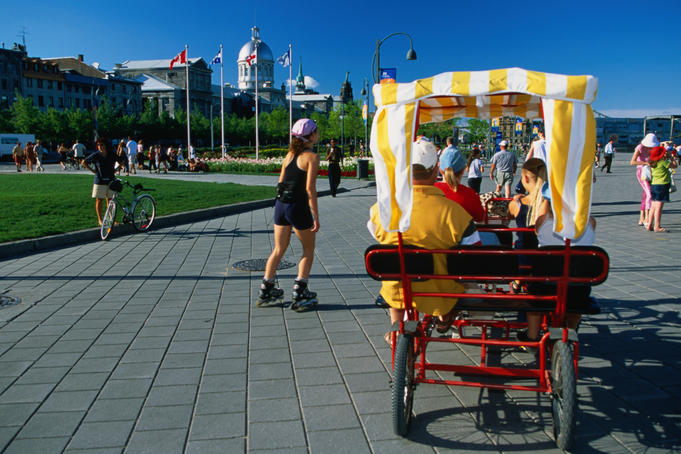 Rollerblading, cycling and pedicab activities in the old port area of Montreal.