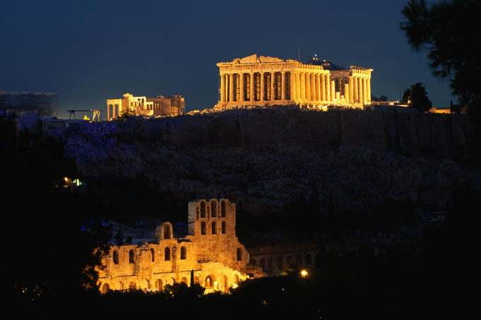 The Parthenon and Acropolis from Filopappou Hill in the evening.