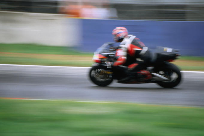 Motorbike speeding at Autodrome di Monza.