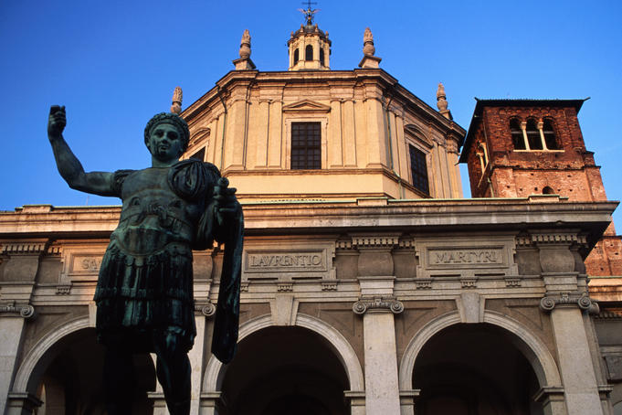 San Lorenzo church and statue, Ticinese quarter.