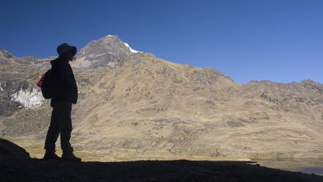 Silhouette on Lares Trek.  Nevada Sirihuani lies in background.