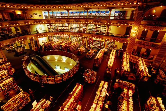 Interior of El Ateneo bookstore, Avenida Santa Fe, Recoleta.