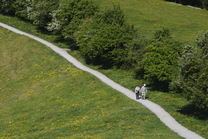 Couple hiking on a path through a meadow near the top Mount Schauenberg, Schlatt.