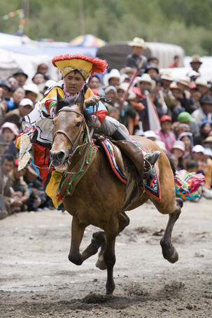 Display of horsemanship at Gyantse Horse Racing Festival.