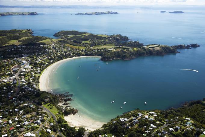 Aerial of Oneroa Bay, Waiheke Island.