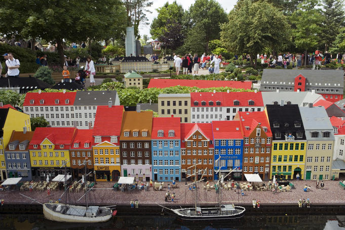 Lego block replica of Copenhagen in Lego Miniland at Legoland.