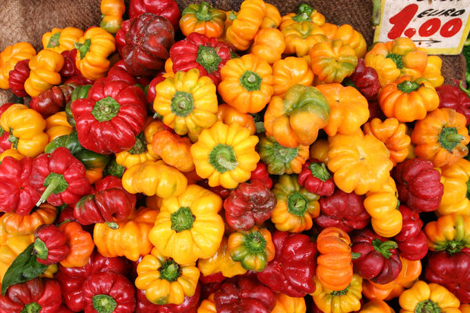 Capsicums for sale at market, Mercato di Antignano.