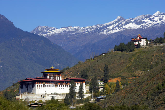 Monastery situated in Paro Valley, with mountains in the background.