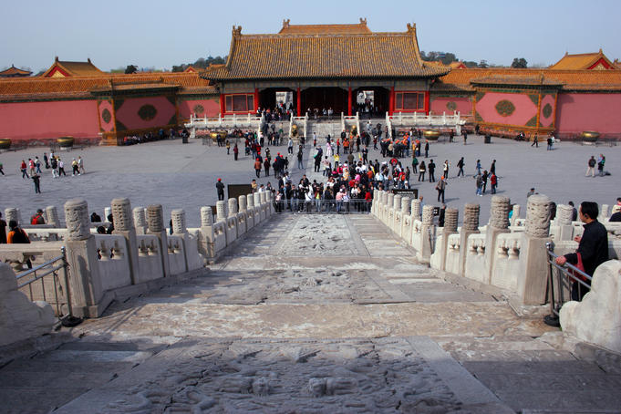 Marble ramp to Hall of Supreme Harmony at Forbidden City.