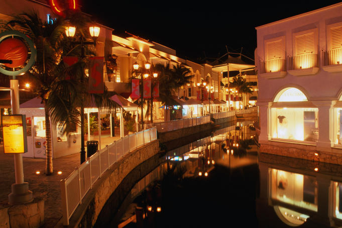 La Isla in the resort town of Cancun. La Isla is a complex of shops, restaurants and a museum.