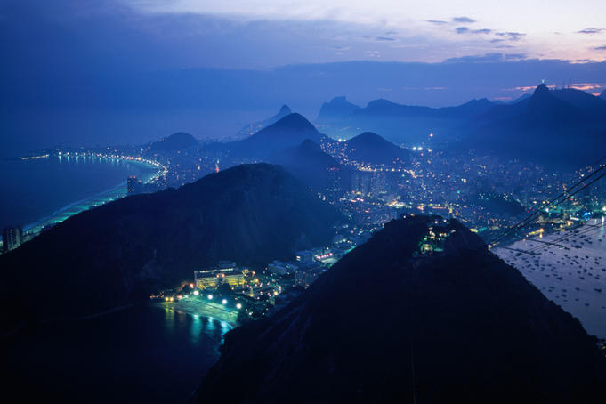 Rio at dusk, viewed from the top of the Sugar Loaf Cable car.