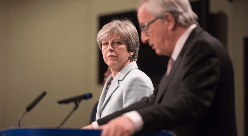 Theresa May with Jean-Claude Junker at the Salzburg Summit, Number 10