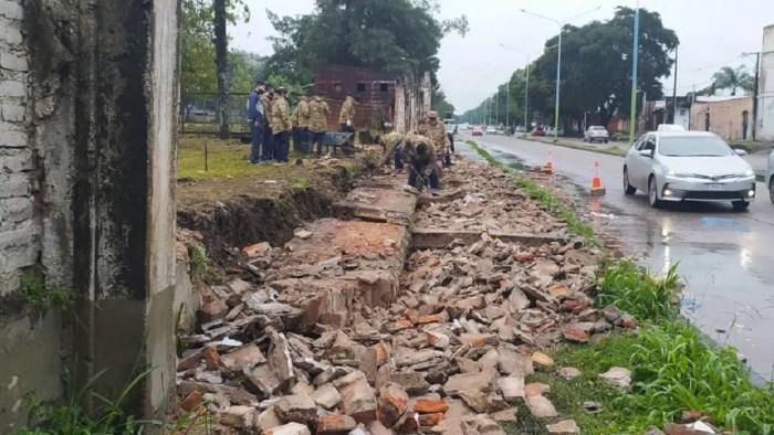 Nuevo derrumbe: cedió una pared del Ejército Argentino