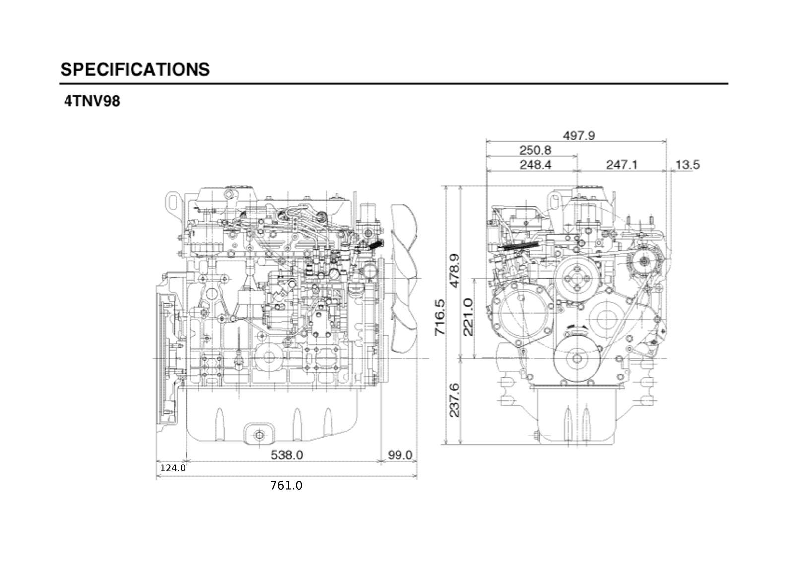hight resolution of yanmar 4tnv98 kompl motor neu