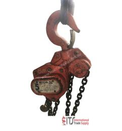 used nobles nitchi chain hoist 5 ton x 8 meter drop block and tackle nobles shop crane h50a chain hoist in preston vic price 490 [ 1024 x 768 Pixel ]