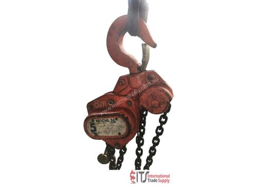small resolution of used nobles nitchi chain hoist 5 ton x 8 meter drop block and tackle nobles shop crane h50a chain hoist in preston vic price 490