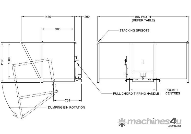 New handling gear NS-JTU18 Forklift Bin Tipper in SYDNEY